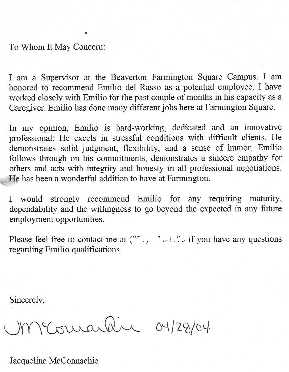 sample recommendation letter for my supervisor regarding letter of